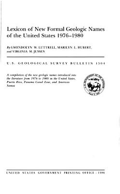 Lexicon of New Formal Geologic Names of the United States  1976 1980 PDF