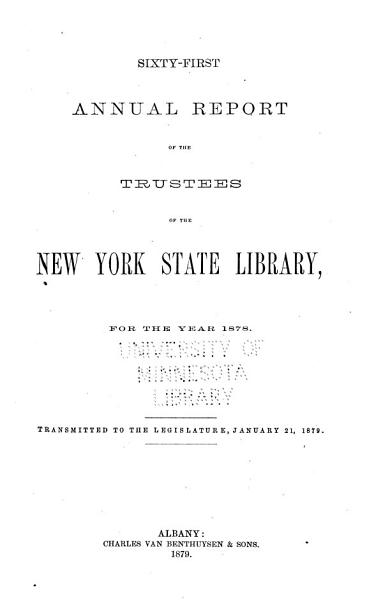Download New York State Library  annual Report  Book