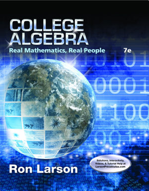 College Algebra  Real Mathematics  Real People PDF