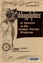 Bibliographies of Interest to the Atomic Energy Program
