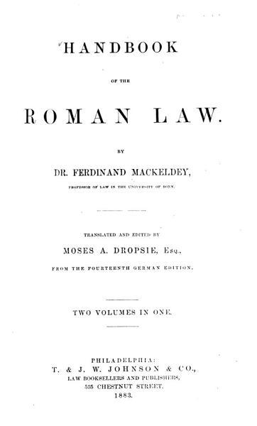 Download Handbook of the Roman Law Book