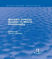 Broad s Critical Essays in Moral Philosophy  Routledge Revivals  PDF