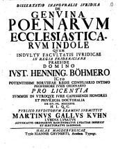 Diss. inaug. iur. de genuina poenarum ecclesiasticarum indole