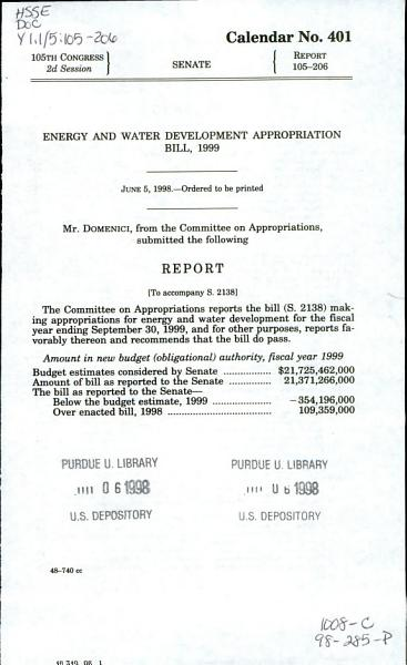 Energy and Water Development Appropriation Bill  1999