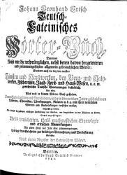 Teutsch Lateinisches W  rter Buch     PDF