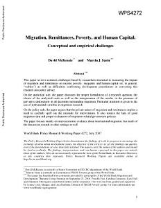 Migration  Remittances  Poverty  and Human Capital PDF