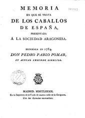 Memoria en que se tracta de los caballos de Espana