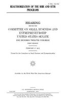 Reauthorization of the Sbir and Sttr Programs PDF