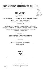 First Deficiency Appropriation Bill  1922 PDF