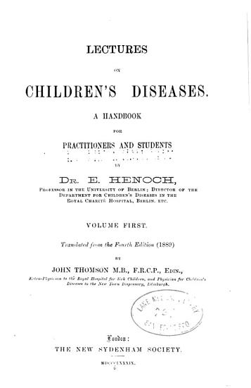 Lectures on children s diseases v  1 PDF