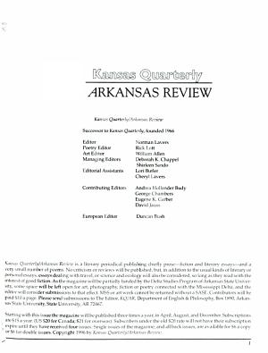 Kansas Quarterly Arkansas Review PDF