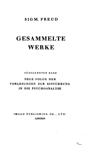 Bd Neue Folge Der Vorlesungen Zur Einfuhrung In Die Psychoanalyse 1940