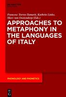 Approaches to Metaphony in the Languages of Italy PDF