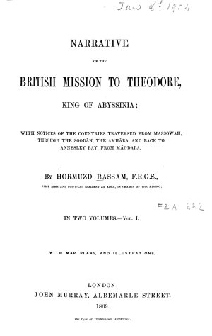 Narrative of the British Mission to Theodore  King of Abyssinia