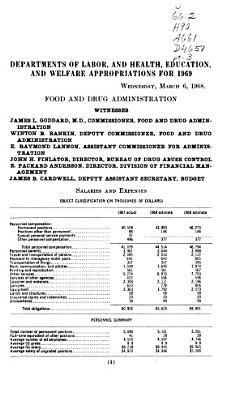 Departments of Labor  and Health  Education  and Welfare Appropriations for 1969 PDF