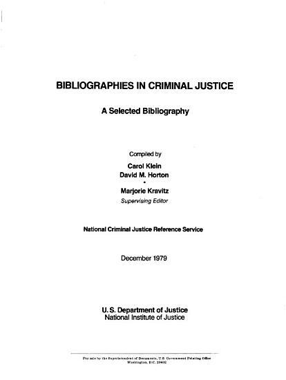 Bibliographies in Criminal Justice PDF