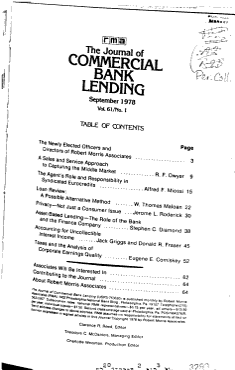 The Journal of Commercial Bank Lending PDF