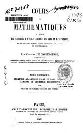 Cours de mathematiques a l'usage des candidats a l'école centrale des arts et manufactures: Géometrie analytique plane et dans l'espace. Éléments de géométrie descriptive, Volume3