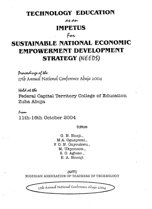 Technology Education as an Impetus for Sustainable National Economic Empowerment Development Strategy  NEEDS  PDF