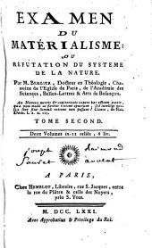 Examen du matérialisme, ou réfutation du systéme de la nature: Volume2