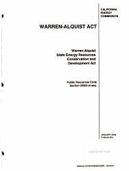 Warren Alquist State Energy Resources Conservation and Development Act  Public Resources Code Section 25000 Et Seq PDF