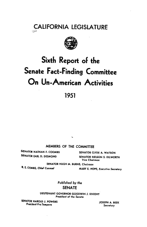 Report of the Senate Fact Finding Subcommittee on Un American Activities PDF