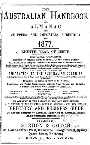 Australian Handbook & Almanac & Shippers & Importers Directory for 1877 ...