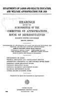 Departments of Labor  and Health  Education  and Welfare Appropriations PDF