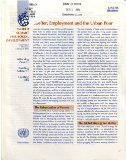 Shelter  Employment and the Urban Poor PDF