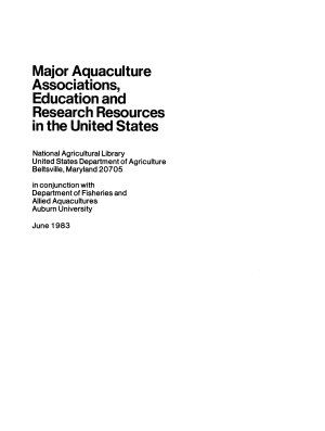 Major Aquaculture Associations  Education and Research Resources in the United States PDF