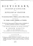A Dictionary Spanish and English, and English and Spanish