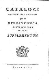 Bibliothecae Bernensis librorum typis editorum