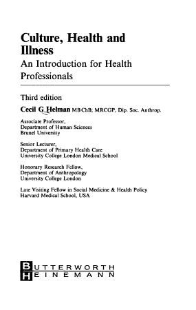 CULTURE HEALTH   ILLNESS 3RD ED PDF