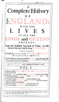 A Complete History of England  with the Lives of All the Kings and Queens Thereof  to the Death of King William III     PDF