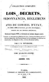 Collection complète des lois, décrets d'intérêt général, traités internationaux, arrêtés, circulaires, instructions, etc: Volume46