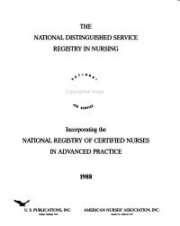 National distinguished service registry in nursing