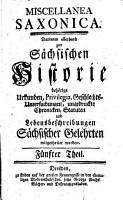 Miscellanea Saxonica PDF