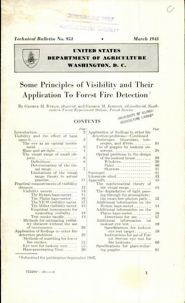 Some Principles of Visibility and Their Application to Forest Fire Detection PDF