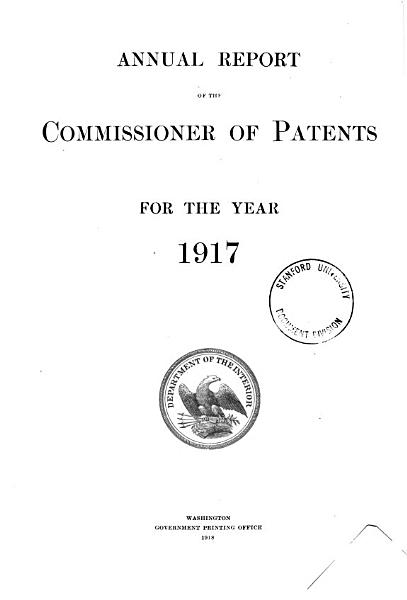Annual Report of the Commissioner of Patents PDF