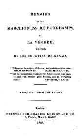 Memoirs of the Marchioness de Bonchamps on La Vendée