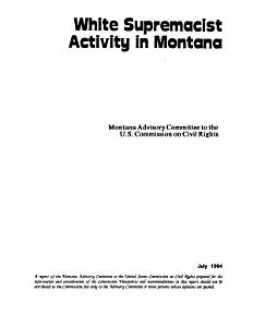 White Supremacist Activity in Montana