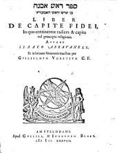 Liber De Capite Fidei: In quo continentur radices & capita vel principia religionis