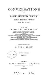 Conversations with distinguished persons during the Second empire, from 1860 to 1863, ed. by M.C.M. Simpson: Volume 1