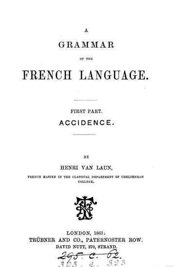 A grammar of the French language  Accidence PDF