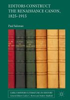 Editors Construct the Renaissance Canon  1825 1915 PDF