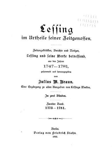 Lessing im urtheile seiner zeitgenossen   3  Bd  1773 1781 PDF