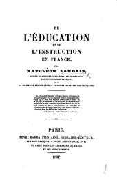 De l'Éducation et de l'Instruction en France