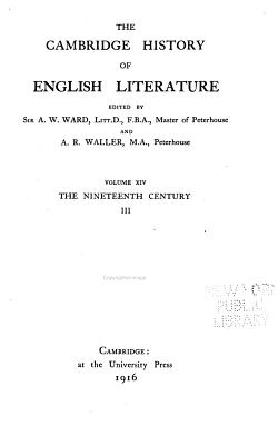 The Cambridge History of English Literature  The nineteenth century  III PDF