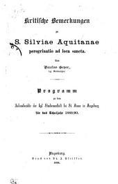 Kritische bemerkungen zu S. Silviae Aquitanae peregrinatio ad loca sancta