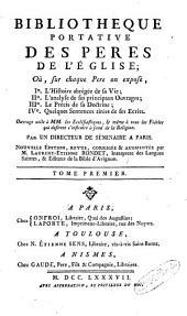 Bibliothèque portative des Pères de l'Eglise: Volume1